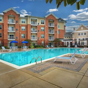 The Bowen apartments in Bowie, MD pool on a sunny day