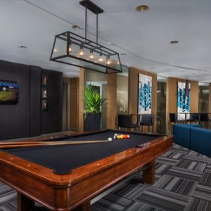The Bowen apartments in Bowie, MD game room with closeup of pool table