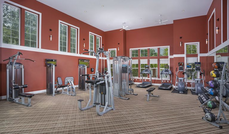 The Bowen apartments in Bowie, MD fitness center with resistance equipment