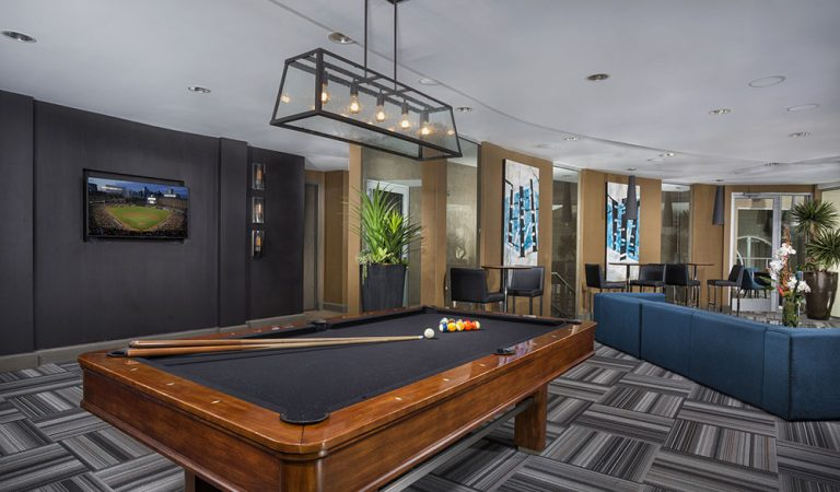 The Bowen apartments in Bowie, MD game room with close up of pool table