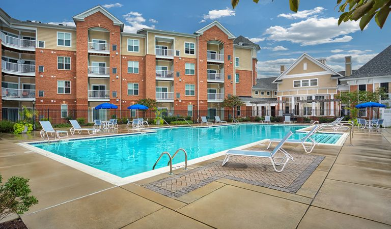 The Bowen apartments in Bowie, MD pool during a sunny day