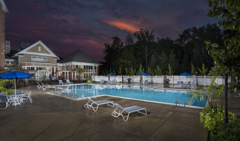 The Bowen apartments in Bowie, MD pool at sundown
