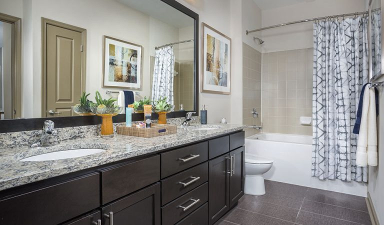 The Bowen apartments in Bowie, MD bathroom with granite countertop vanity, large mirror and tub with shower